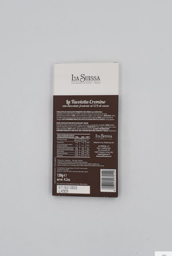 la Tavoletta Cremino con cioccolato fondente - La Suissa